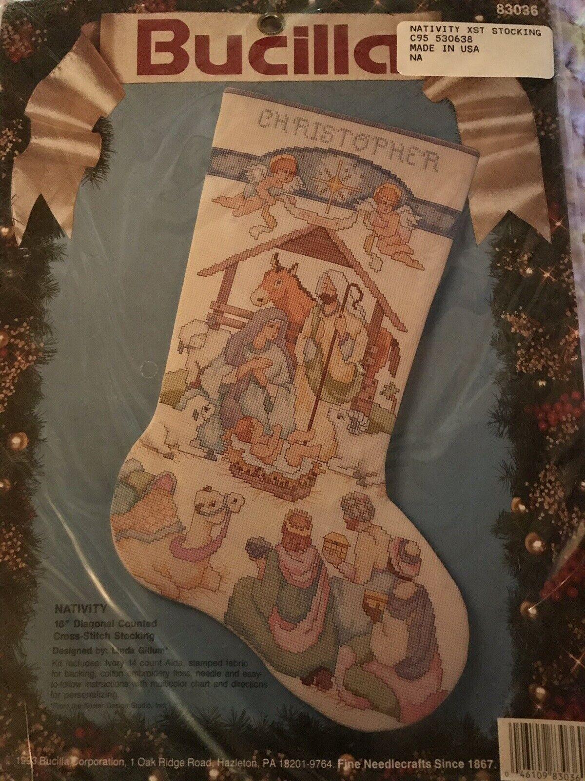 BUCILLA Nativity CHRISTMAS STOCKING Counted Cross Stitch Kit