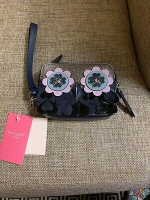 NWT - $119 Kate Spade Small Camera Wristlet Zibbi Nightcap Navy Owl WLRU5608