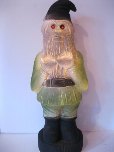 Blow Mold Halloween Zombie Gnome Red Eyes Lighted Union Products