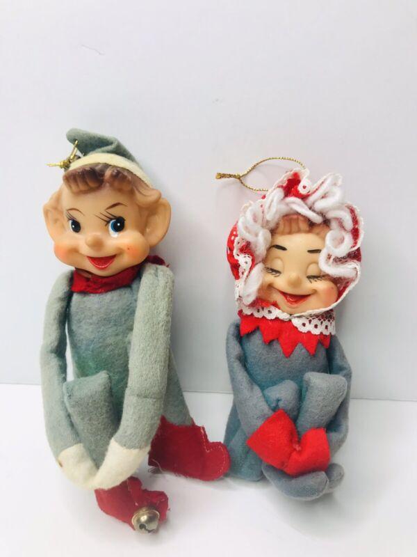 Vintage Christmas Knee Hugger Elf Pixie Set Boy Girl Green Felt Japan