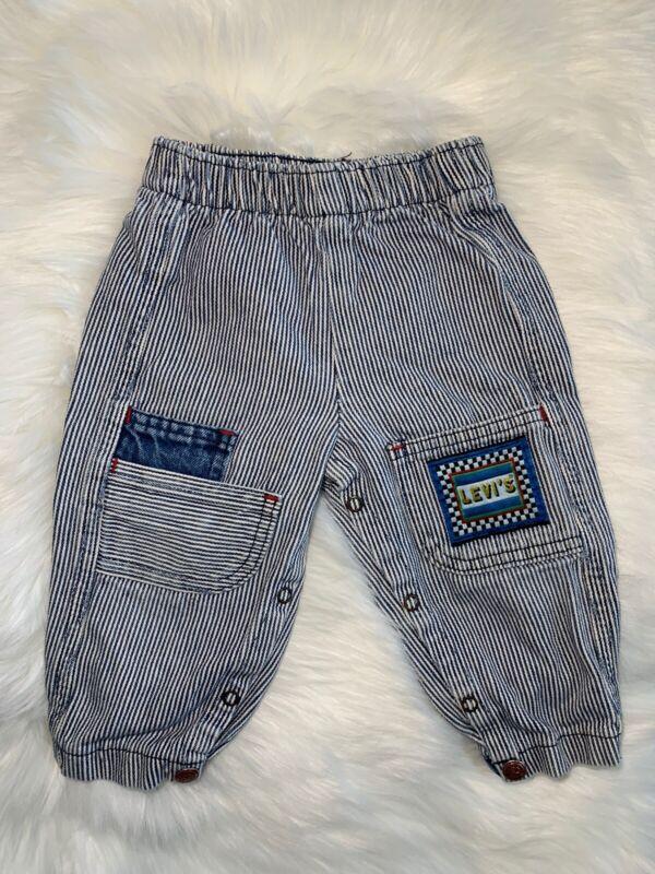 Vtg 80's Little Levis Acid Wash Toddler Denim Jeans Striped Pants 12 Mo. RARE!