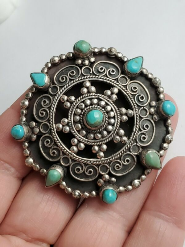 Made In Mexico Turquoise Sterling Silver Brooch Marked