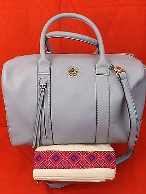 NWT TORY BURCH BLUE CLOUD TEXTURED LEATHER BRODY GOLD REVA CROSS BODY BAG $ 495