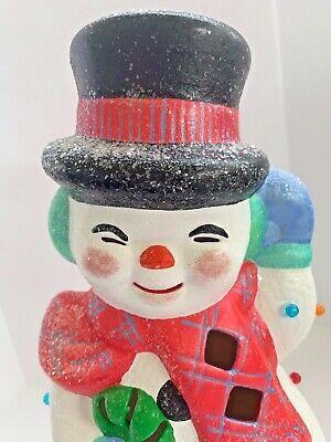 "Vintage Christmas Ceramic Mold Frosty Snowman Light Up Bulb Figurine Holiday 12"""
