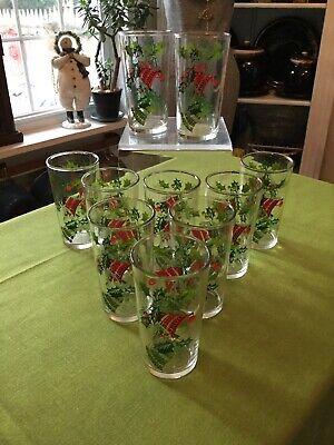 "Christmas Drinking Glasses (Vintage Lot (10) 5"" Christmas Tumblers Drinking Glasses Holly Bells Hazel)"