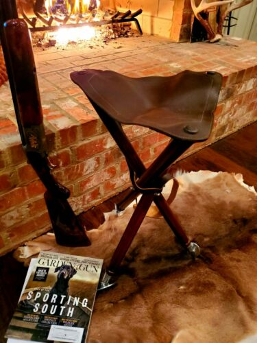 Tripod Leather Stool Tall, XL Seat, Dove Shooting Stool, Orvis, Kevin