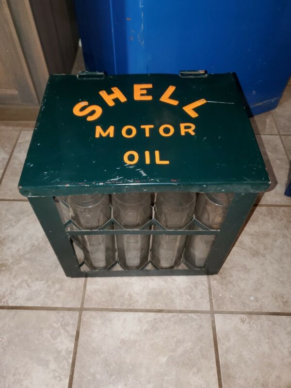 Shell motor oil glass bottles with container