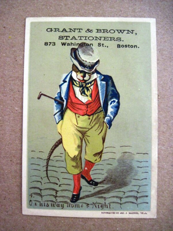 "Nice Victorian Trade Card for ""Grant & Brown Stationers"" w/ Rat Wearing Clothes*"