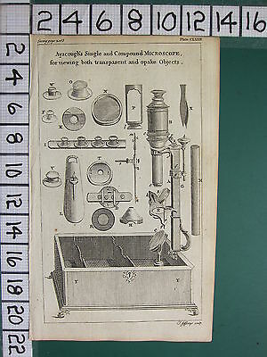 1754 ANTIQUE PRINT ~ AYSCOUGH'S SINGLE & COMPOUND MICROSCOPE VARIOUS APPARATUS