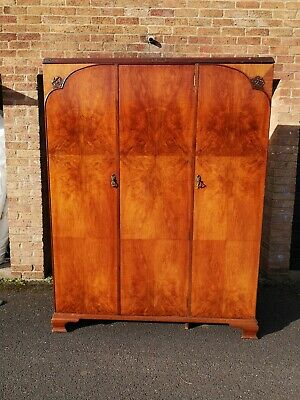 Beautiful Antique Burr Triple Wardrobe Armoire MAPLE & Co LONDON Royal Warrant