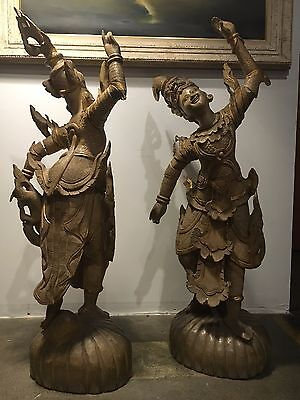 "Pair Vintage Thai Khon Dancing statues Hand Carved Wood 45""H"