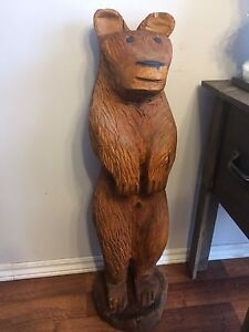 Handcrafted wooden bear