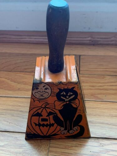 Vintage Halloween Gotham Tin Bell Noisemaker Cat Witch Pumpkin Moon 1920s