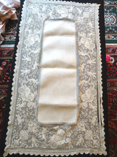 FAB ANTIQUE NEEDLE LACE RUNNER - CHERBUBS PUSHING LADY IN CART,URNS,NEEDS TLC