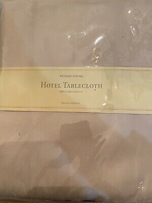 """Williams Sonoma Hotel Tablecloth 90"""" Round 100% Cotton Ivory New"""