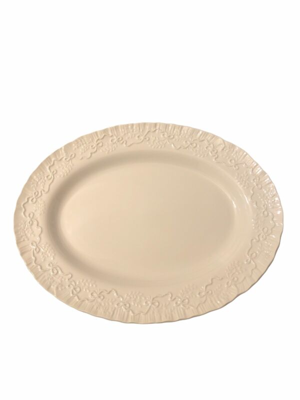 """RALPH LAUREN  Wedgwood CLAIRE White 14"""" OVAL PLATTER- Free Shipping"""