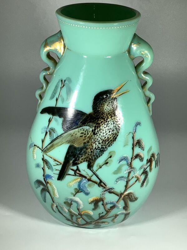 Thomas Webb Signed Mint Green Glass Handled Vase Handpainted Bird Scene