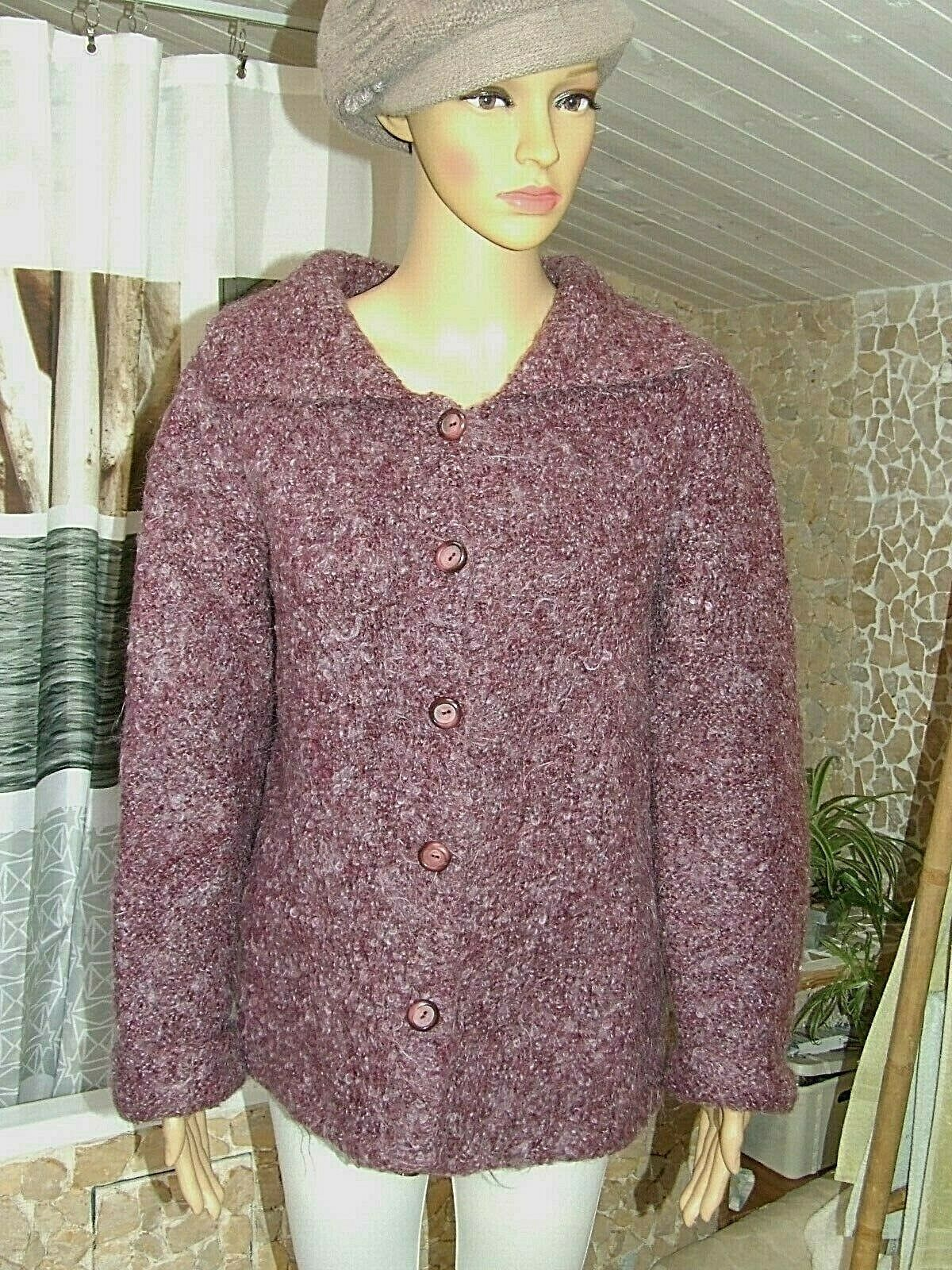 Superbe pull / veste / gilet tricoté main mohair  laine phildar  taille 42 / 44