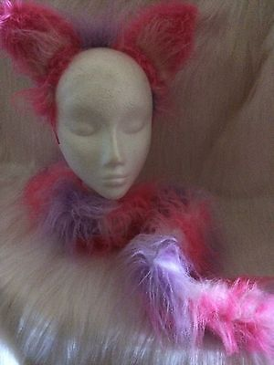 Cheshire Cat Ears And Tail Pink & Lilac Luxury Mix Fake Fur Fancy Dress One Size (Pink Cat Ears And Tail)