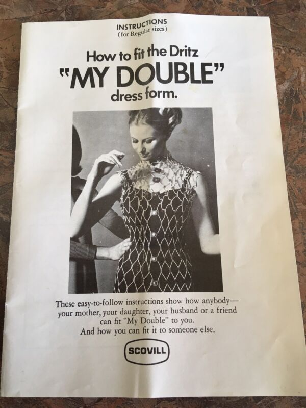 """Vintage INSTRUCTIONS BOOKLET DRITZ """"My Double"""" Dress Form Model A Wire 1960's"""