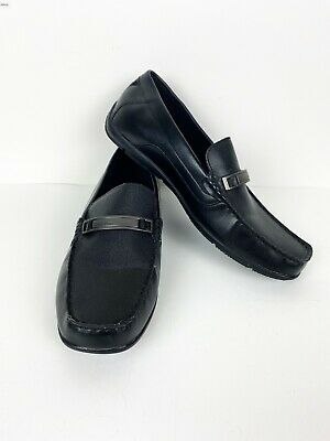 Calvin Klein Men Size 10 Marko Perforated Faux Leather  Black Loafer Dress Shoes