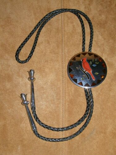 Vintage Tobe Turpen Bolo Tie ----- Iulea -- Cardinal Inlay(Red Coral)