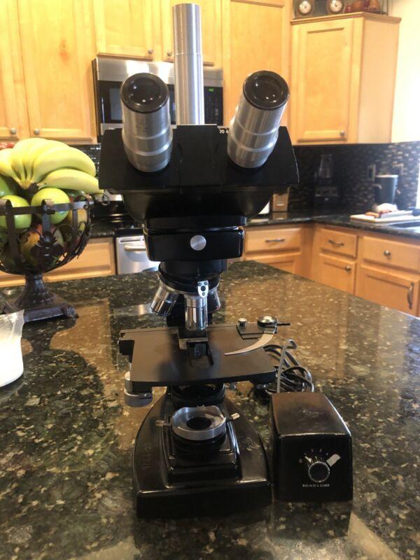 Bausch  Lomb Optical  Flat Field Trinocular Microscope w/ 3  4x 10x 100x