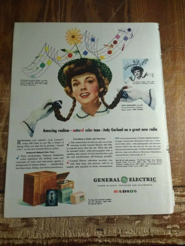 1945 Judy Garland In General Electric Natural Color Tone Radios Ad