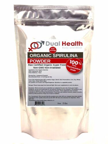 5 Lb Organic Spirulina Powder Usda Chlorophyll Non-gmo No...
