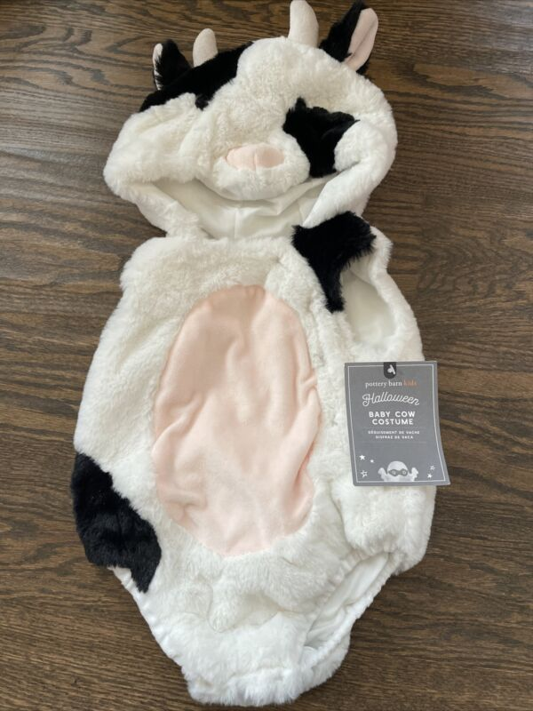 NWT Pottery Barn Kids unisex boy girl soft baby cow costume one-piece 0 3 6
