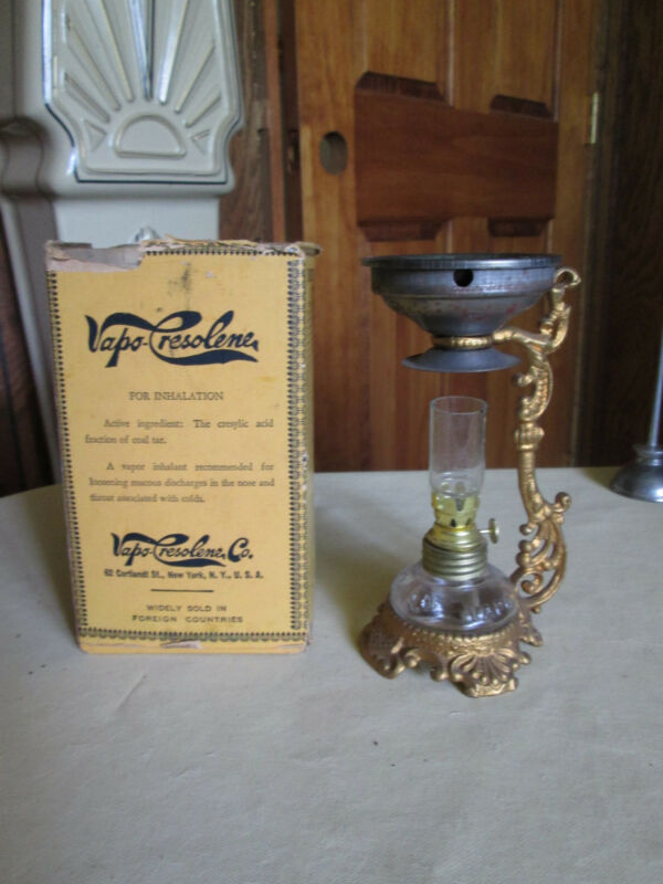 Antique Vapo Cresolene Medical Lamp Vaporizer with Box --Pat,d in 1885