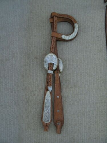 WESTERN SHOW WIDE CHEEK HEADSTALL/BRIDLE - TOOLED LEATHER & BEADED SILVER