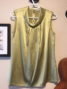 Olive green silk top size 6