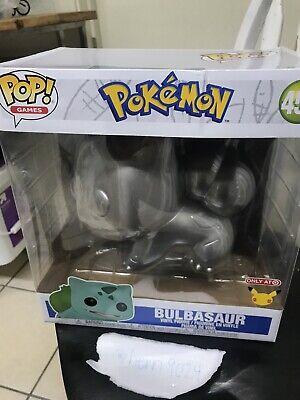 "Funko Pop 25th Anniv Pokemon Bulbasaur 10"" Target Exclusive Metallic Silver #454"