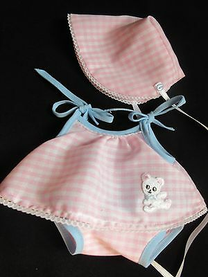 """3 PIECE GINGHAM SUMMER DRESS SET FOR 14"""" VINTAGE IDEAL BETSY WETSY BABY DOLL"""
