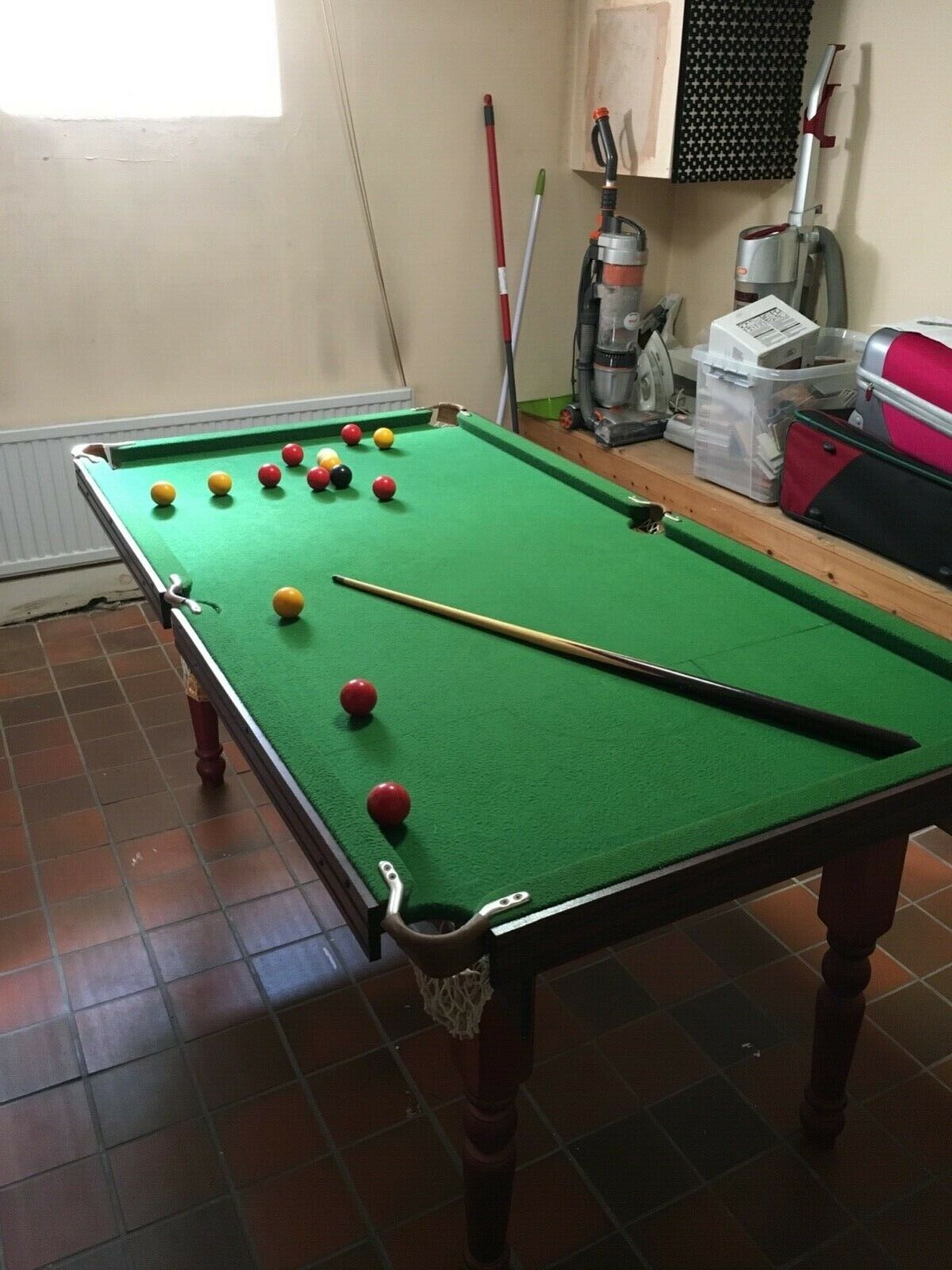 pool table 6ft used with pool and snooker balls and cues