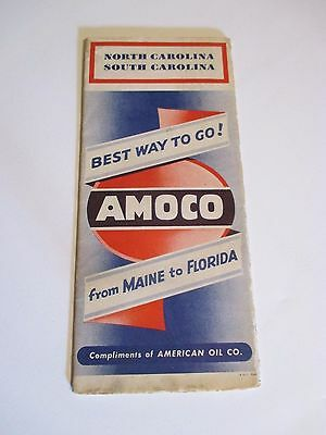 Vintage AMOCO N. CAROLINA S. CAROLINA Oil Gas Station Road Map~1940 Census