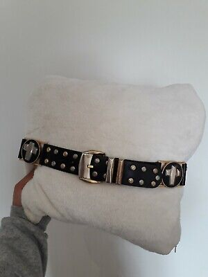 Gianni Versace vintage studded medalion unisex leather belt  size 80/32