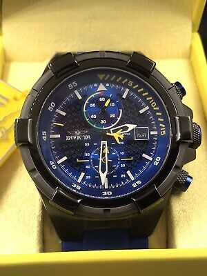 INVICTA Mens Aviator Chrono Blue Silicone Black Case Mens Watch 28092 NEW!