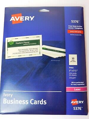 Avery Business Cards For Laser Printers 5376 Ivory Uncoated Pack Of 250