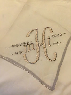 Vintage WHTE  Monogram mHt GREY & YELLOW Ladies Handkerchief Hanky  Linen