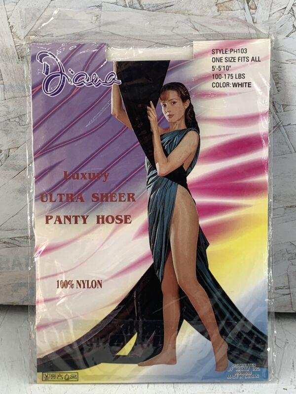Vintage Diana luxury ultra sheer panty hose 100% Nylon White Very Rare 1980's