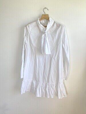 $395 OPENING CEREMONY White Shirt Dress Tunic M drop waist long sleeve neck bow