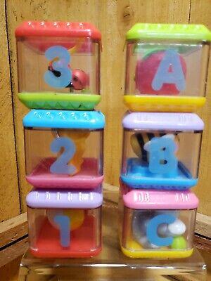 Fisher Price Peek a Blocks Learning Fun 6 Piece Block Set ABC's and 123's