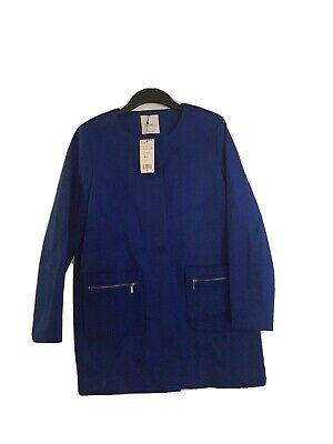 MANGO SUIT COLLECTION Abrigo Minimal Ladies Blue Coat Size L Bnwt RRP...