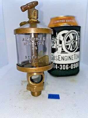 American Injector No. 2 Brass Oiler Embossed Glass Hit Miss Gas Engine Antique