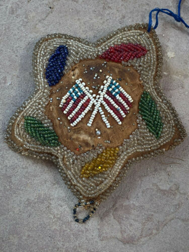 Antique Beaded Whimsy FLAGS Iroquois Mohawk Whimsey Native American Pin Cushion