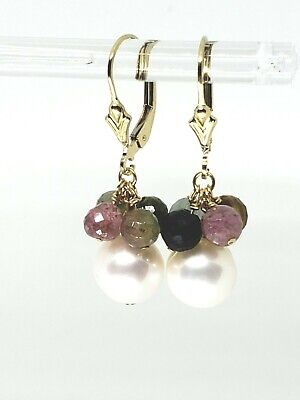 14k Yellow Gold Filled Tourmaline and White Pearl Cluster Dangle Earrings