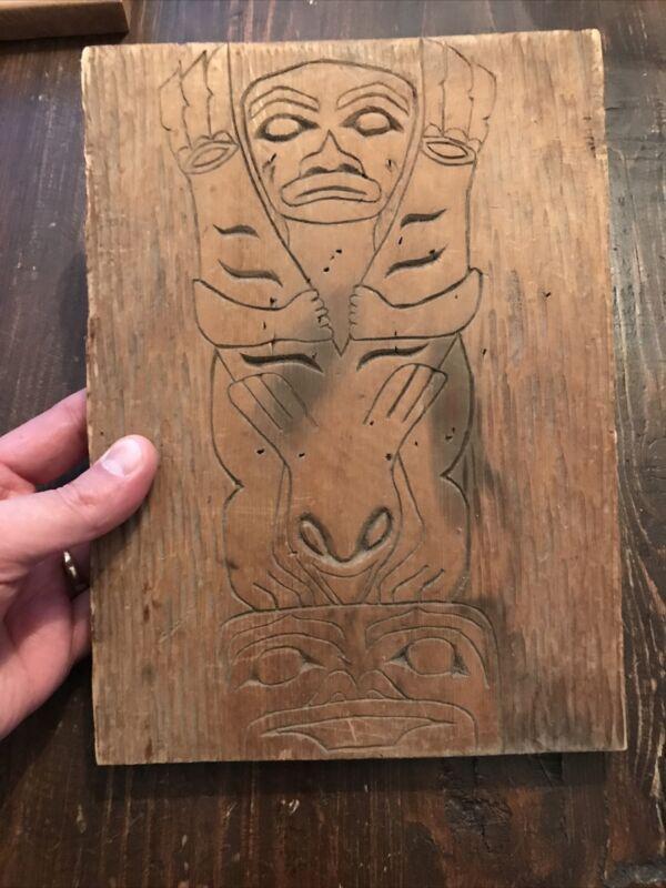 Rare 1800's Early 1900's Tlingit Carved Cedar Totemic Panel Southeast Alaska