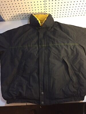 VINTAGE Nautica Down Coat Puffer Reversible Navy/yellow Jacket Spellout Mens L
